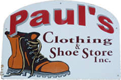 Pauls Clothing and Shoe Store Logo and Store Front Sign, has a Boot and the company name.